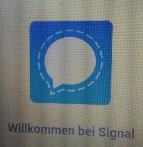 Blaue Sprechblase des Signal Logos