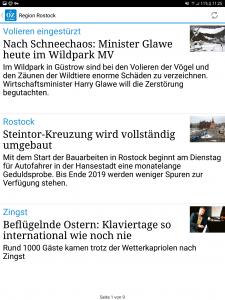 Screenshot der OZ Android App mit Ausschnitten aus Rostock
