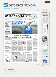 Screenshot des OZ Onlinenewspaper