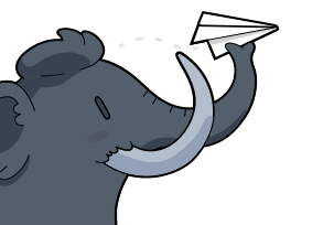 Mastodon Elefant mit Papierflugzeug