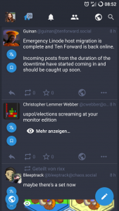Screenshot der Übersichtsseite von mastalab, mit 2 posts über Star Trek
