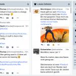 Vierspaltige Ansicht der Startseite mit vielen posts