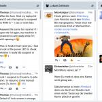 Vierteilige Ansicht, bei der Ergebnisse der Hashtag Suche angezeigt werden