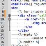 Editorfenster von Geany, mit verbessertem Syntax-Highlightning und git commit-Status