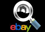 Lupe die Menschen untersucht und mit dem eBay-Logo
