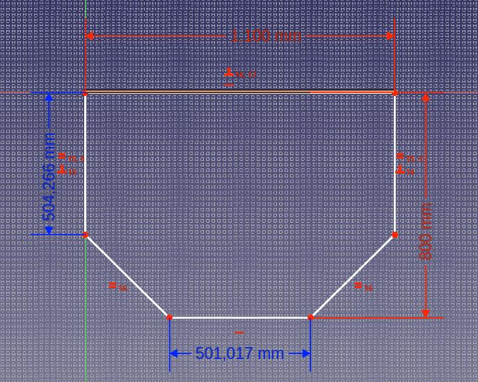 Technische Skizze der Grundplatte des Meerschweingeheges. Von einer Grundplatte von 1100mm mal 800mm sind die vorderen zwei Ecken in 45° Winkeln ausgespaart.